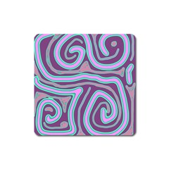 Purple Lines Square Magnet by Valentinaart