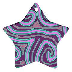 Purple Lines Star Ornament (two Sides)  by Valentinaart