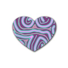 Purple Lines Heart Coaster (4 Pack)  by Valentinaart
