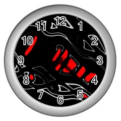 Black And Red Artistic Abstraction Wall Clocks (silver)  by Valentinaart