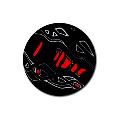 Black And Red Artistic Abstraction Rubber Coaster (round)