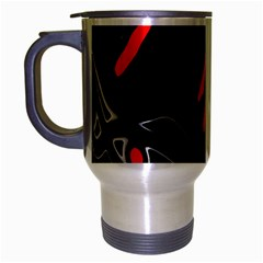 Black And Red Artistic Abstraction Travel Mug (silver Gray) by Valentinaart