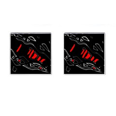 Black And Red Artistic Abstraction Cufflinks (square) by Valentinaart