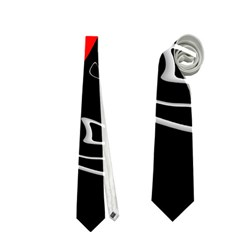 Black And Red Artistic Abstraction Neckties (one Side)  by Valentinaart
