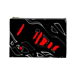 Black And Red Artistic Abstraction Cosmetic Bag (large)  by Valentinaart