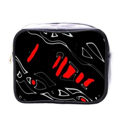Black And Red Artistic Abstraction Mini Toiletries Bags by Valentinaart