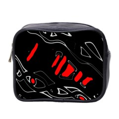 Black And Red Artistic Abstraction Mini Toiletries Bag 2 Side by Valentinaart
