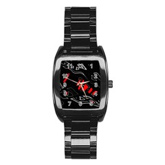 Black And Red Artistic Abstraction Stainless Steel Barrel Watch by Valentinaart