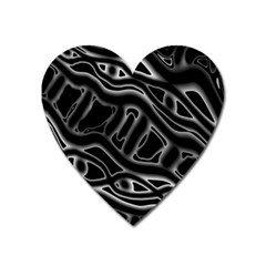 Black And White Decorative Design Heart Magnet by Valentinaart