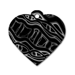 Black And White Decorative Design Dog Tag Heart (one Side) by Valentinaart