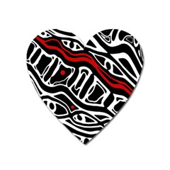 Red, Black And White Abstract Art Heart Magnet