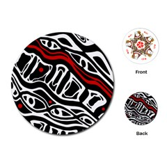 Red, Black And White Abstract Art Playing Cards (round)  by Valentinaart