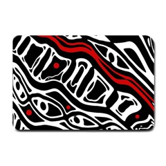 Red, Black And White Abstract Art Small Doormat  by Valentinaart