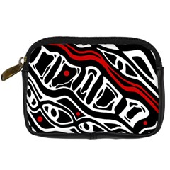 Red, Black And White Abstract Art Digital Camera Cases by Valentinaart