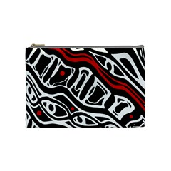Red, Black And White Abstract Art Cosmetic Bag (medium)  by Valentinaart
