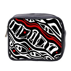 Red, Black And White Abstract Art Mini Toiletries Bag 2 Side by Valentinaart