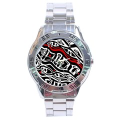 Red, Black And White Abstract Art Stainless Steel Analogue Watch by Valentinaart