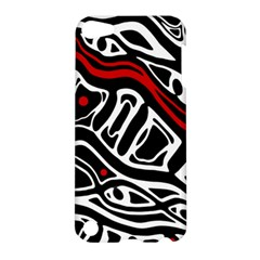 Red, Black And White Abstract Art Apple Ipod Touch 5 Hardshell Case by Valentinaart