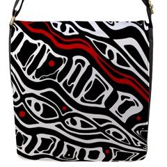 Red, Black And White Abstract Art Flap Messenger Bag (s) by Valentinaart