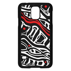 Red, Black And White Abstract Art Samsung Galaxy S5 Case (black) by Valentinaart