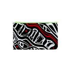 Red, Black And White Abstract Art Cosmetic Bag (xs) by Valentinaart