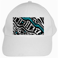 Blue, Black And White Abstract Art White Cap by Valentinaart