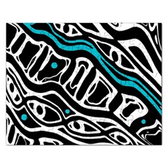 Blue, Black And White Abstract Art Rectangular Jigsaw Puzzl by Valentinaart
