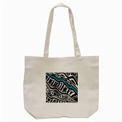 Blue, Black And White Abstract Art Tote Bag (cream) by Valentinaart