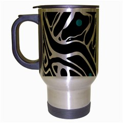 Blue, Black And White Abstract Art Travel Mug (silver Gray) by Valentinaart