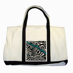 Blue, Black And White Abstract Art Two Tone Tote Bag by Valentinaart