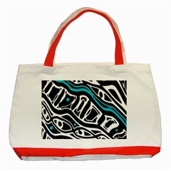 Blue, Black And White Abstract Art Classic Tote Bag (red) by Valentinaart