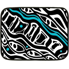 Blue, Black And White Abstract Art Fleece Blanket (mini) by Valentinaart