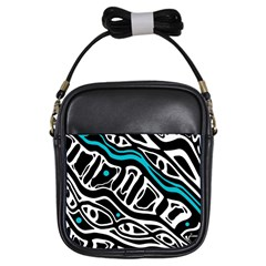 Blue, Black And White Abstract Art Girls Sling Bags by Valentinaart