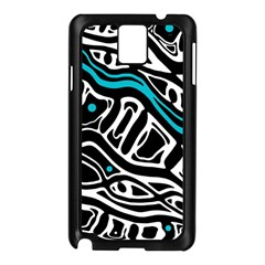 Blue, Black And White Abstract Art Samsung Galaxy Note 3 N9005 Case (black) by Valentinaart