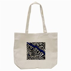 Deep Blue, Black And White Abstract Art Tote Bag (cream) by Valentinaart