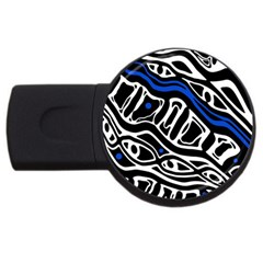 Deep Blue, Black And White Abstract Art Usb Flash Drive Round (4 Gb)  by Valentinaart