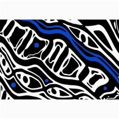 Deep Blue, Black And White Abstract Art Collage Prints by Valentinaart