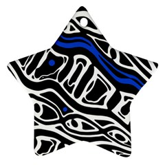 Deep Blue, Black And White Abstract Art Star Ornament (two Sides)  by Valentinaart