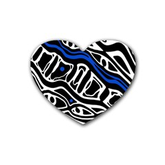 Deep Blue, Black And White Abstract Art Rubber Coaster (heart)  by Valentinaart