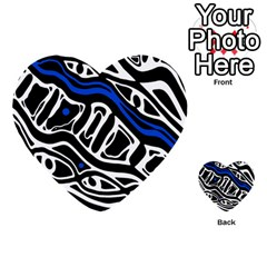 Deep Blue, Black And White Abstract Art Multi Purpose Cards (heart)  by Valentinaart