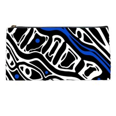 Deep Blue, Black And White Abstract Art Pencil Cases by Valentinaart