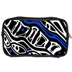 Deep Blue, Black And White Abstract Art Toiletries Bags by Valentinaart