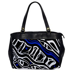 Deep Blue, Black And White Abstract Art Office Handbags by Valentinaart