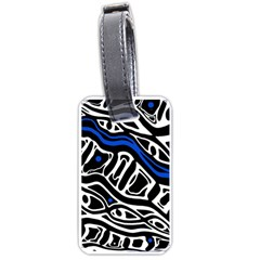 Deep Blue, Black And White Abstract Art Luggage Tags (one Side)  by Valentinaart