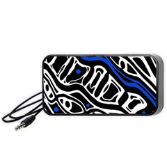 Deep Blue, Black And White Abstract Art Portable Speaker (black)  by Valentinaart