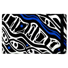 Deep Blue, Black And White Abstract Art Apple Ipad 2 Flip Case by Valentinaart