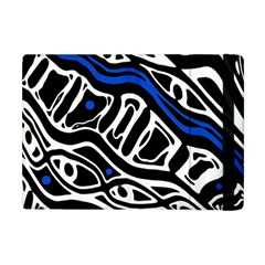 Deep Blue, Black And White Abstract Art Apple Ipad Mini Flip Case by Valentinaart