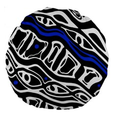 Deep Blue, Black And White Abstract Art Large 18  Premium Round Cushions by Valentinaart