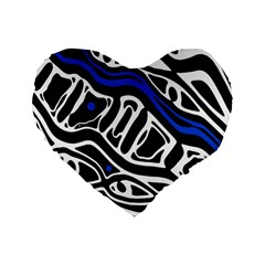 Deep Blue, Black And White Abstract Art Standard 16  Premium Heart Shape Cushions by Valentinaart