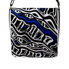 Deep Blue, Black And White Abstract Art Flap Messenger Bag (l)  by Valentinaart